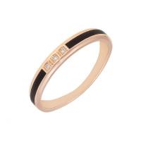 Золотое кольцо обручальное с эмалью и бриллиантами