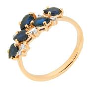 Золотое кольцо с бриллиантами и сапфирами ЮЫ2002700022808