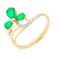 Золотое кольцо с бриллиантами и изумрудами ЮЫ2002800022803
