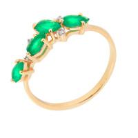 Золотое кольцо с бриллиантами и изумрудами ЮЫ2002800022807