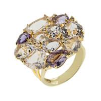 Золотое кольцо с бриллиантами, аметистами и кварцем ЗЗУ1087ААРР4
