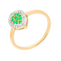Золотое кольцо с бриллиантами и изумрудами ЮЫ2002800023354