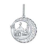Серебряная мечеть с фианитами ДИ94031221
