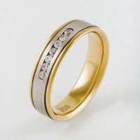 Золотое кольцо обручальное с фианитами ЛД0211210000254