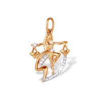 Золотой знак зодиака «весы» с фианитами ЮПП1320946