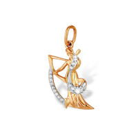 Золотой знак зодиака «стрелец» с фианитами ЮПП1320948