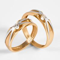 Золотое кольцо обручальное с бриллиантом ВБ7013-151-00-00
