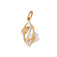 Золотой знак зодиака «рыбы» с фианитами ЮПП1320951