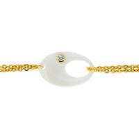 Серебряный браслет с керамикой и фианитами