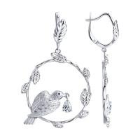 Серебряные серьги подвесные с сваровски