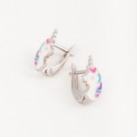 Серебряные серьги детские с эмалью ЫА21159-2