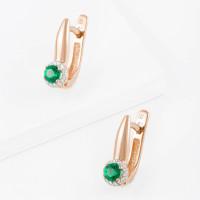 Золотые серьги с изумрудами гт и бриллиантами ЫЗ5-4081-103-2К-ИзГт