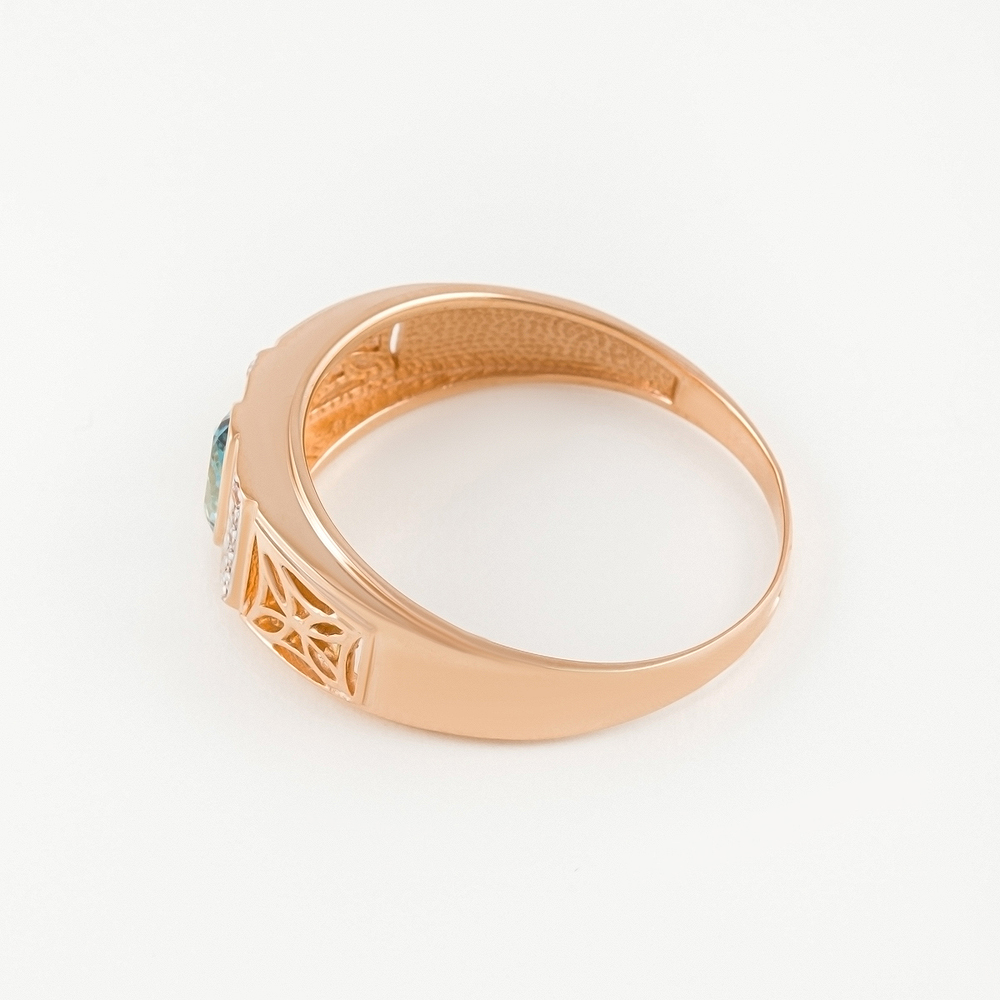 Золотая печатка с топазами и фианитами РЫ1527513