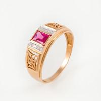 Золотая печатка с рубинами и фианитами РЫ1527415