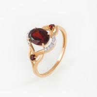 Золотое кольцо с гранатами и фианитами ЮПК1346133гр