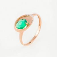 Золотое кольцо с агатом и фианитами