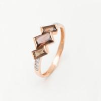 Золотое кольцо с фианитами и раухтопазом ЮИК122-5494ТР