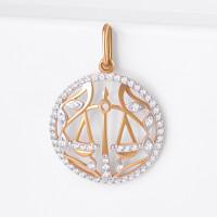 Золотой знак зодиака «весы» с фианитами ЮПП1326830