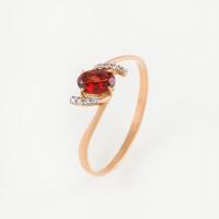 Золотое кольцо с гранатами и фианитами ЮПК1340042гр