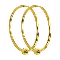 Золотые серьги конго с шариками золотами ДИ140121-2 без вставок камней