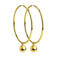 Золотые серьги конго с шариками золотами ДИ028391-2