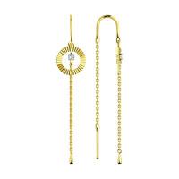 Золотые серьги протяжки с фианитами ДИ028555-2