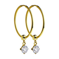 Золотые серьги конго с фианитами ДИ028420-2