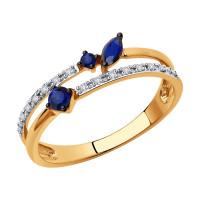 Золотое кольцо с бриллиантами и сапфирами ДИ2011144