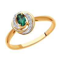 Золотое кольцо с изумрудами и бриллиантами ДИ3010567