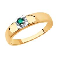 Золотое кольцо с изумрудами и бриллиантами ДИ3010571