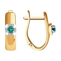 Золотые серьги с изумрудами и бриллиантами ДИ3020473