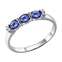 Золотое кольцо с танзанитами и бриллиантами ДИ6014086