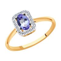 Золотое кольцо с танзанитами и бриллиантами ДИ6014132