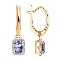 Золотые серьги подвесные с танзанитами и бриллиантами ДИ6024158