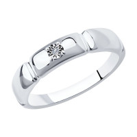 Серебряное кольцо с бриллиантом ДИ87010041