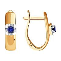 Золотые серьги с сапфирами и бриллиантами ДИ2020989