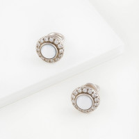 Серебряные серьги гвоздики с агатами и фианитами