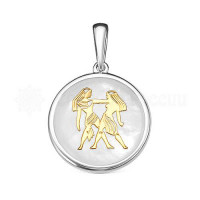 Серебряный знак зодиака с перламутром «близнецы» РОП-2406РК484