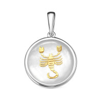 Серебряный знак зодиака с перламутром «скорпион» РОП-2411РК484