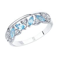 Серебряное кольцо с топазами и фианитами ДИ92011880