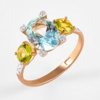 Золотое кольцо с ситаллами хризолитами, ситаллом аквамариным и фианитами ДИ716109