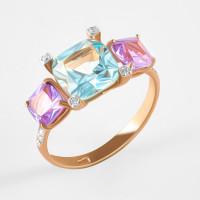 Золотое кольцо с ситаллами аметистами, ситаллом аквамариным и фианитами ДИ716110