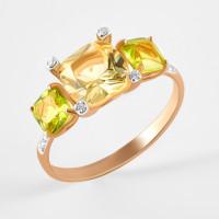 Золотое кольцо с ситаллами хризолитами, ситалом и фианитами ДИ716111