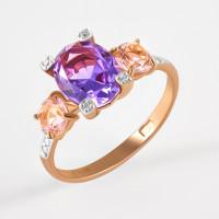 Золотое кольцо с ситаллами морганитами, ситаллом аметистом и фианитами ДИ716158