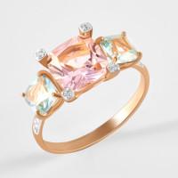 Золотое кольцо с ситаллами аквамаринами, ситаллом морганитом и фианитами ДИ716159