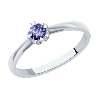Золотое кольцо с танзанитами и бриллиантами ДИ6014080