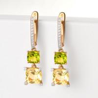 Золотые серьги подвесные с ситаллами хризолитами, ситалом и фианитами ДИ727451
