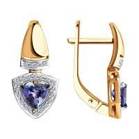 Золотые серьги с танзанитами и бриллиантами ДИ6024122