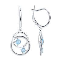 Серебряные серьги подвесные с топазами ДИ92022238