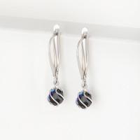 Серебряные серьги подвесные с кристаллами swarovski